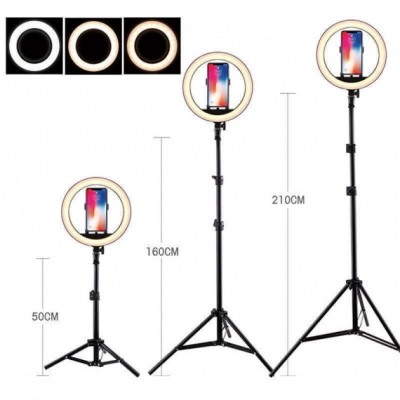 Кольцевая LED лампа 26 см с держателем для телефона со Штативом 2 м селфи кольцо 3 режима освещение| Набор блогера 2 в 1
