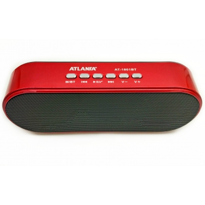 Портативная беспроводная Bluetooth колонка Atlanfa AT-1801BT Red с низкочастотной мембраной СУПЕР ЗВУК!!