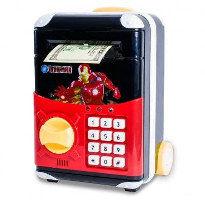 Детская электронная копилка сейф чемодан NBZ Cartoon Bank с кодовым замком Iron Man