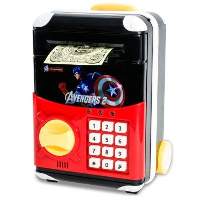 Детская электронная копилка сейф чемодан NBZ Cartoon Bank с кодовым замком Captain America