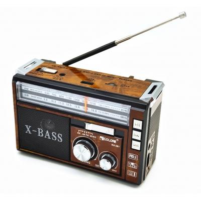 Радиоприёмник колонка с радио FM USB MicroSD и фонариком Golon RX-381 Brown на аккумуляторе