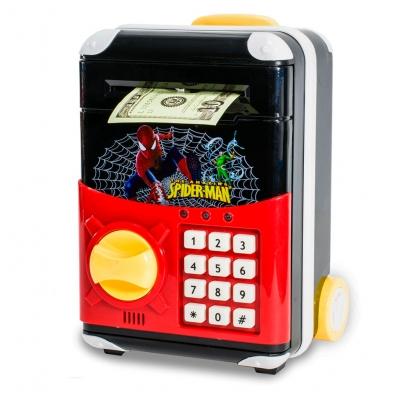 Детская электронная копилка сейф чемодан NBZ Cartoon Bank с кодовым замком Spiderman
