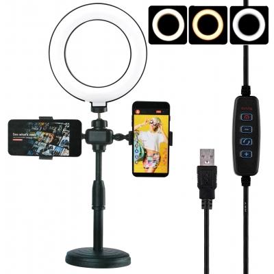 Настольная кольцевая селфи лампа светодиодная LED с держателем двух телефонов Phone Live Fill Light 16 см