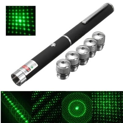 Лазерная указка Green Laser Pointer + 5 насадок | Зеленый лазер в виде ручки