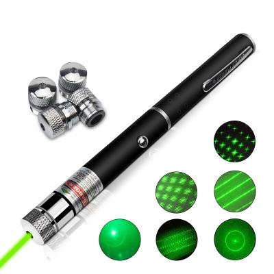 Лазерная указка Green Laser Pointer + 5 насадок   Зеленый лазер в виде ручки