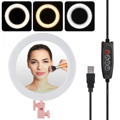 Кольцевая LED лампа 26 см с держателем для телефона + Зеркало Pink | Селфи кольцо 3 режима освещение| Набор блогера