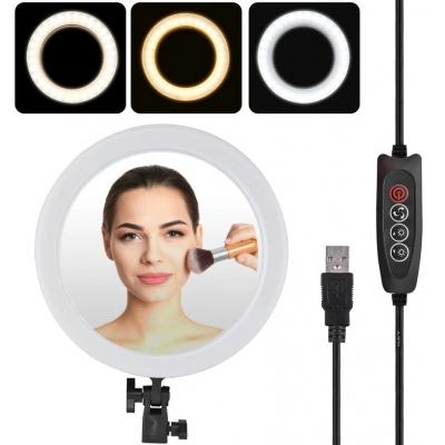 Кольцевая LED лампа 26 см с держателем для телефона + Зеркало Black | Селфи кольцо 3 режима освещение| Набор блогера
