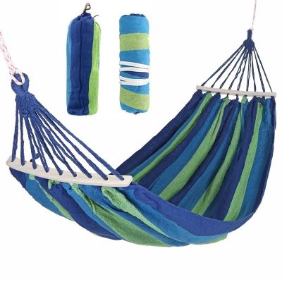 Мексиканский тканевый гамак с деревянной перекладиной подвесной 200 х 80 см для туризма и дачи Blue