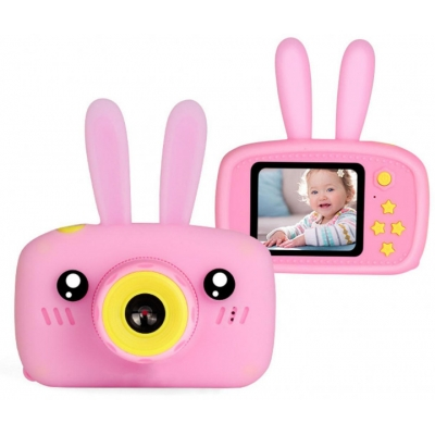 Цифровой детский фотоаппарат Children fun Camera Зайчик детская фото-видеокамера Pink