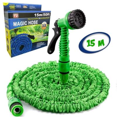 Садовый шланг для полива NBZ Magic Hose 15 м Green саморастягивающийся X-HOSE + Распылитель