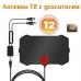 Цифровая активная комнатная антенна Digital TV для T2 с усилителем Черная
