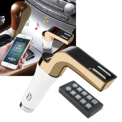 FM Модулятор ФМ Трансмиттер для авто с Bluetooth MP3 передатчик Car CM 590 с пультом Золотой