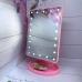 Зеркало для макияжа NBZ Large LED Mirror настольное с подсветкой 22 LED Pink