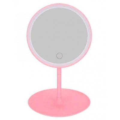 Зеркало для макияжа настольное круглое с LED подсветкой NBZ на аккумуляторе Pink
