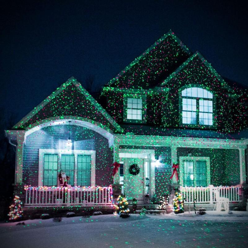 Новогодний лазерный проектор для улицы и фасада дома  Star Shower Laser Light оригинальная гирлянда Звездное небо