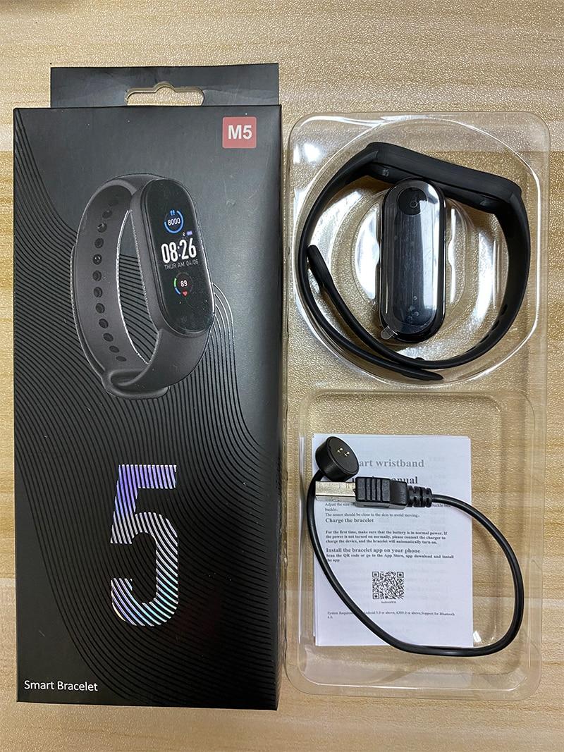 Фитнес браслет Smart Band M5 Black цветной дисплей измерение давления и пульса шагомер