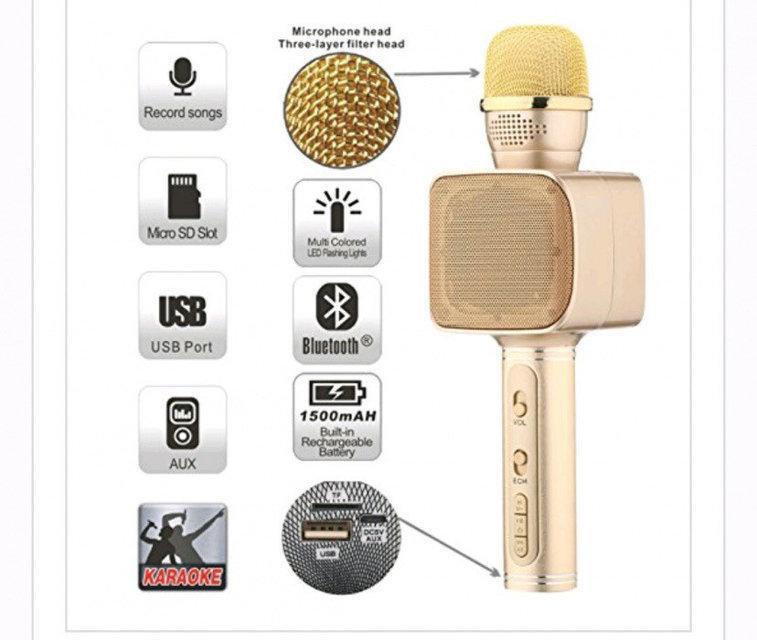 Беспроводной Bluetooth микрофон караоке  Magic Karaoke YS-68 LED 2 динамика с мембраной низких частот Gold