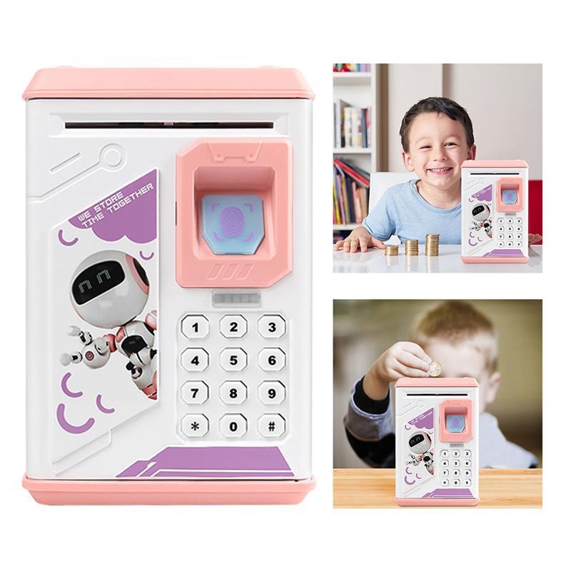 Дитяча електронна скарбничка сейф ROBOT BODYGUARD з кодовим замком і відбитком пальця Pink