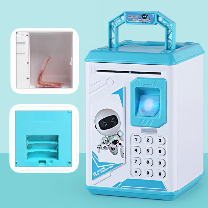Детская электронная копилка сейф  ROBOT BODYGUARD с кодовым замком и отпечатком пальца Blue
